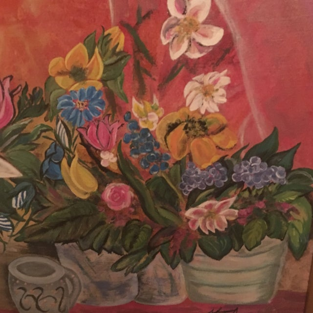 Mid-Century Modern Jardiniere 1966 Painting - Image 4 of 7