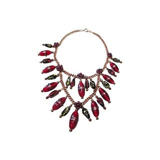 Venetian Glass & Garnet Festoon Necklace