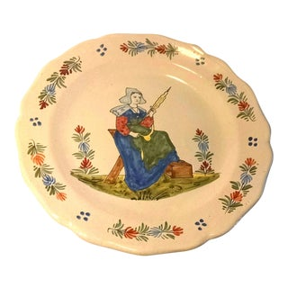 1800's Quimper French Faience Breton Wall Plate
