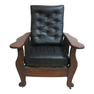 Antique Tiger Oak &Black Leather Tufted Morris Lounge Chair