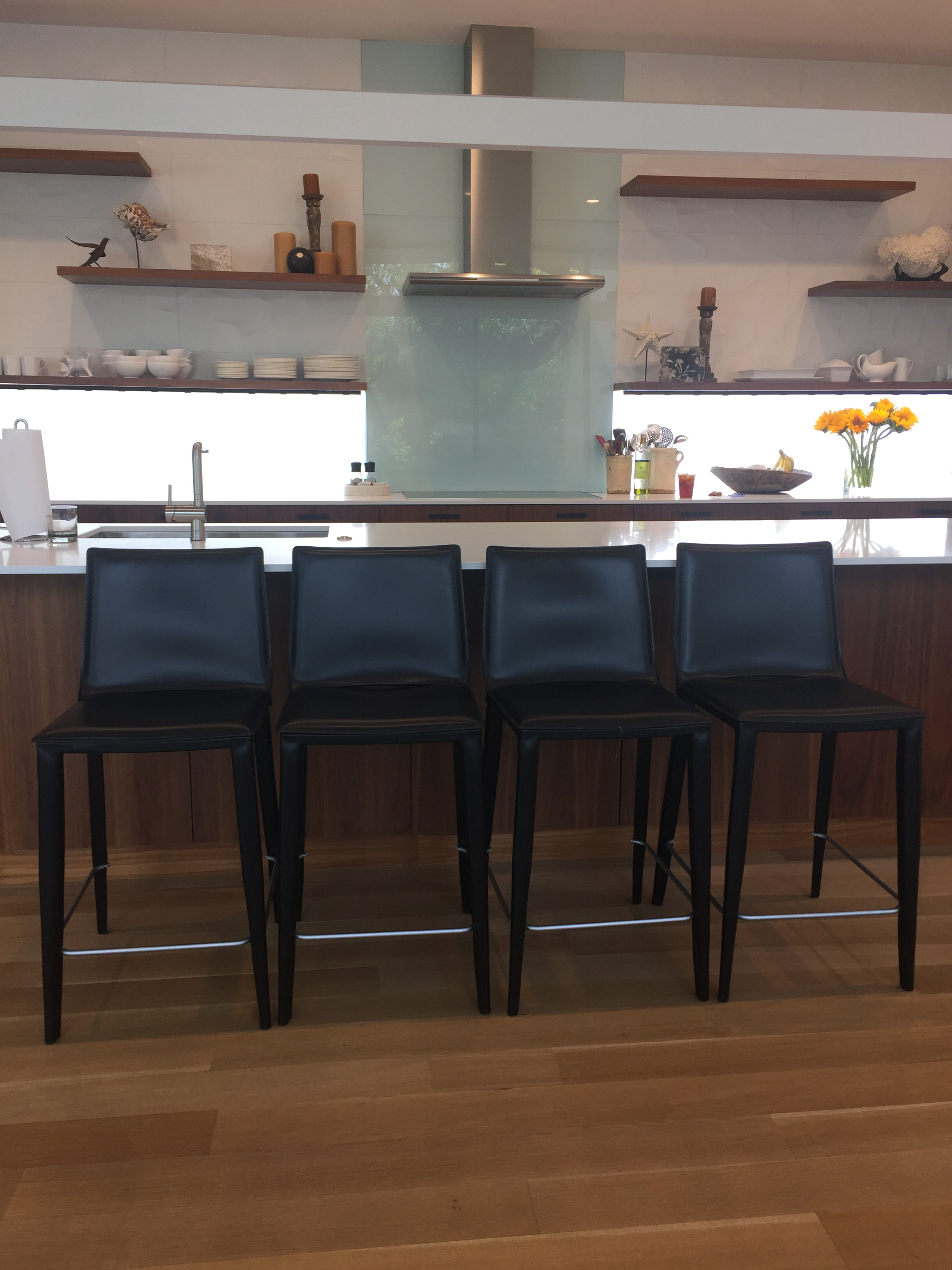 Black Leather Bottega Counter Stools Set Of 4 Chairish