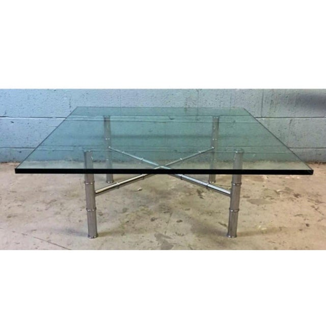 Chrome Faux Bamboo Coffee Table - Image 3 of 6