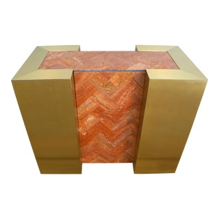 Vintage Tessellated Marble & Brass Dining Table or Console Base