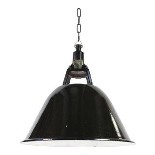 Soviet Era Industrial Black Porcelain Enamel Pendant Light