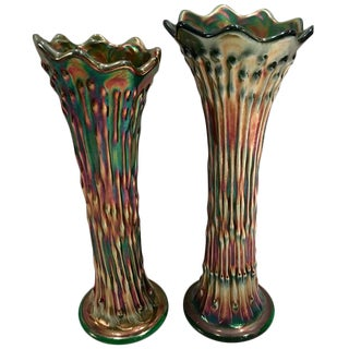 Antique Fenton American Green Art Glass Vases - A Pair