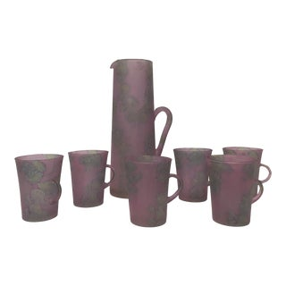 Hand Painted Judaica Glass & Pitcher Set by Ilanit - Set of 7