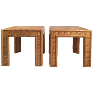 Pair of Rattan Square Occasional Tables, circa 1970s