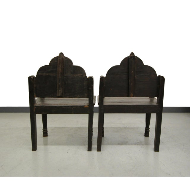 Image of Antique Carved Wood Occasional Chairs - A Pair