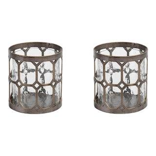 Geometric Hurricane Candle Holders - A Pair
