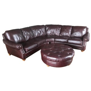 Italian Leather Sectional & Ottoman