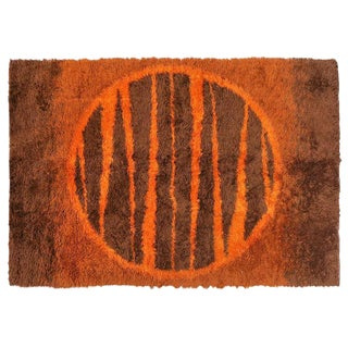 Supernova Shag Rug with Abstract Design, circa 1970