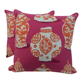 Dana Gibson Bright Pink & Carrot Designer Pillows- A Pair