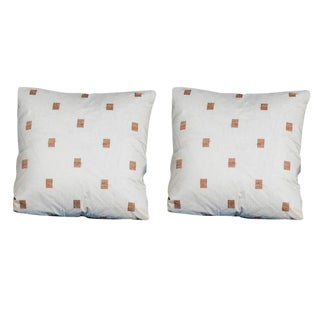 "Pair of Custom 24′ x 24″ Pillows, ""Windows Gold"", Silk Organza"
