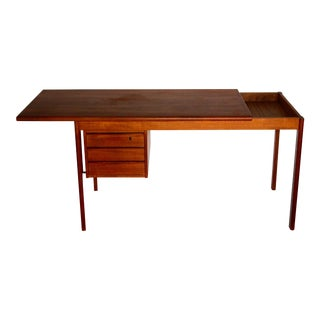 Lovig Sliding Top Teak Desk With Three Drawers
