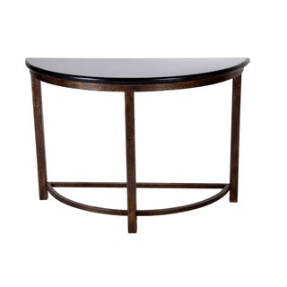 Semi-Circle Metal Console Table with Marble Top