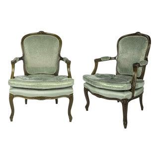 Louis XV Style Walnut Armchairs - A Pair