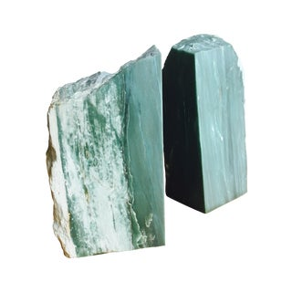 Vintage Live Edge Green Marble Bookends - A Pair