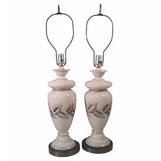 Tropical Foliate Ceramic Lamps - A Pair