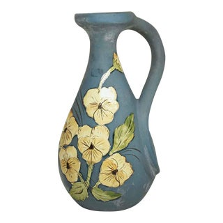 Floral Painted Ceramic Pitcher