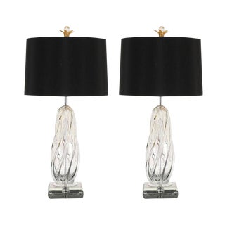 Exceptional Restored Pair of Large-Scale Twisted Murano Lamps
