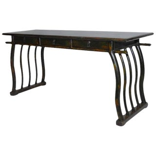 Chinese Deco Lacquered Desk With Serpentine Legs