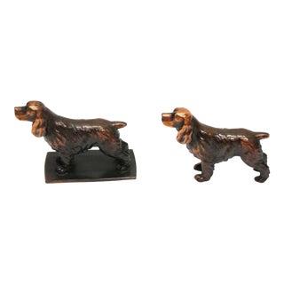 Copper Cocker or Springer Spaniel Paperweight - Set of 2