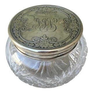 Sterling & Cut Crystal Vanity Powder Jar