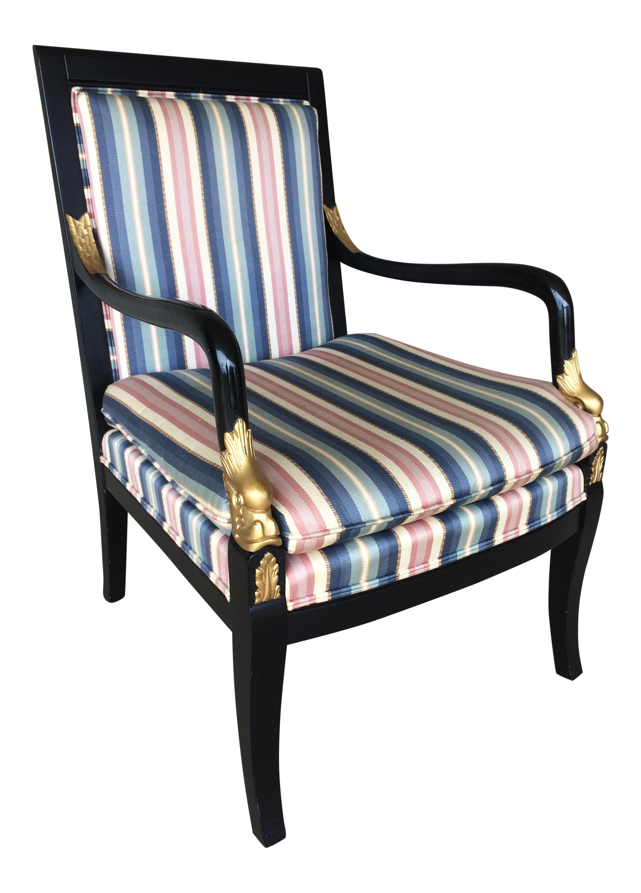 ethan allen dolphin federal blackgold trim upholstered arm chair image 1 of 10