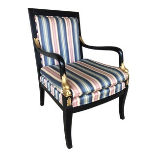 Ethan Allen Dolphin Federal Black/Gold Trim Upholstered Arm Chair