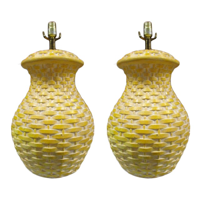 Yellow Ceramic Basket Weave Table Lamps - Pair