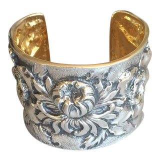 "Galmer Sterling Silver ""Repousse"" Morning Bloom Cuff Bracelet"