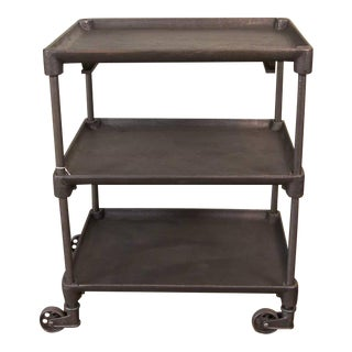 Vintage Industrial Cast Iron & Steel Cast Iron Serving - Rolling Bar Cart Table