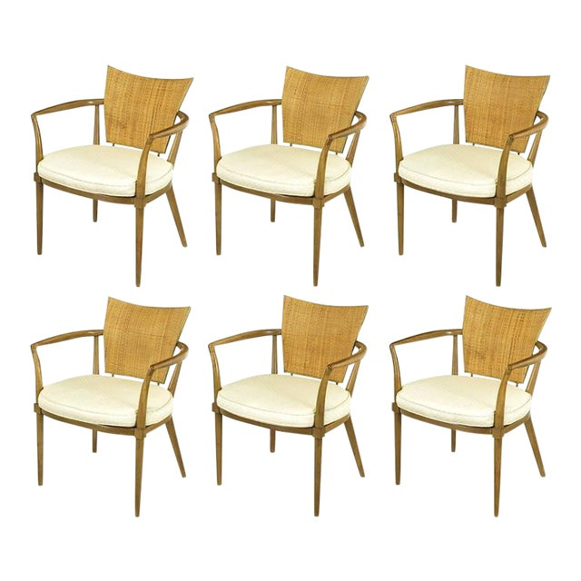 Set of Six Bert England Mahogany, Brass and Cane Dining Chairs - Image 1 of 7