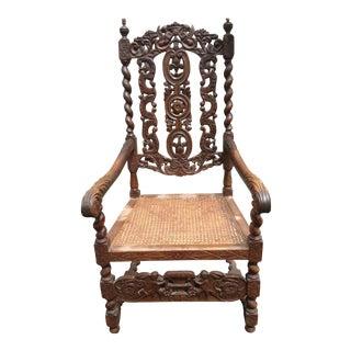 Antique Carved Renaissance Revival Jacobean Throne Cane Chair