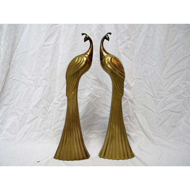 Circa 1980s Brass Peacock Figures - A Pair - Image 2 of 6
