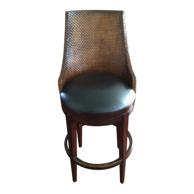 Image of Woodbridge Woven Leather Bar Stool