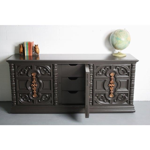 Hollywood Regency Gray & Bronze Dresser - Image 4 of 9