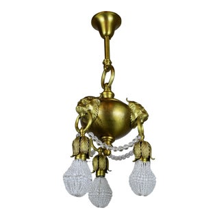 "Neoclassical Revival ""Lion Mask"" Fixture with Crystal"