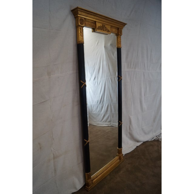 Image of LaBarge Ebonized and Gilded Classical Style Mirror