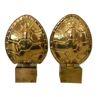 Turtle Shell Brass Lamps by Chapman - A Pair