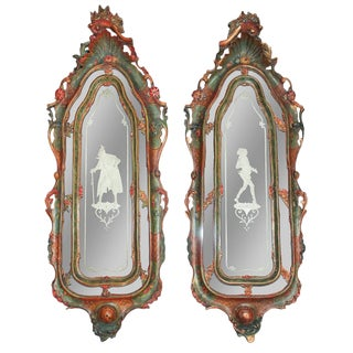 Pair of Italian Carved & Painted Mirrors