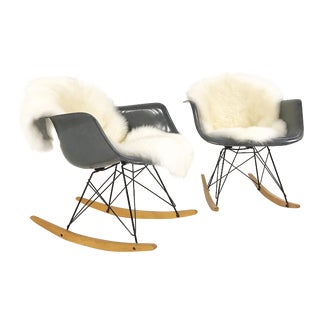 Charles & Ray Eames for Herman Miller Rar Rockers With Sheepskins - a Pair