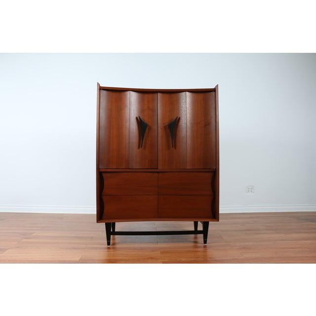 Mid Century Walnut Highboy Dresser - Image 4 of 4