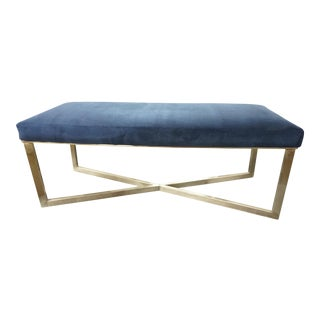 Navy Blue Velvet X Bench