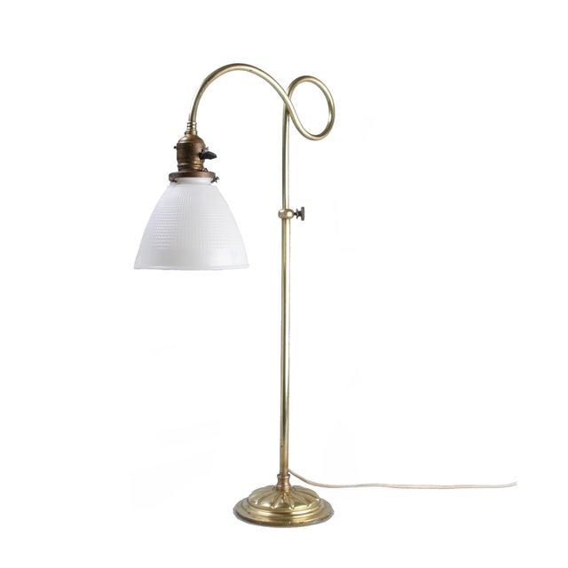 brass table lamp w milk glass globe chairish. Black Bedroom Furniture Sets. Home Design Ideas