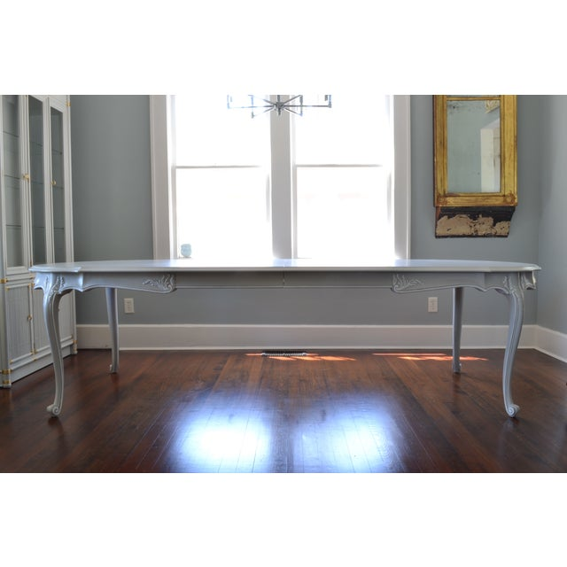 Image of Vintage French Wood Gray & White Dining Table
