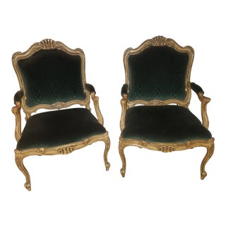 Antique Forest Green Victorian Chairs - A Pair