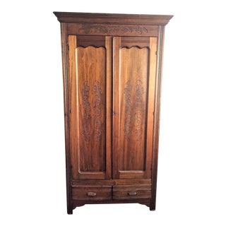 Antique 2 Door Oak Wardrobe