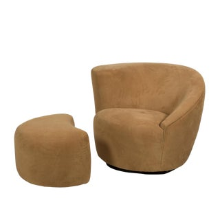 "Vladimir Kagan Nautilus ""Corkscrew"" Swivel Club Chair and Ottoman"