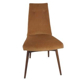Mid-Century Orange Velvet Accent Chair